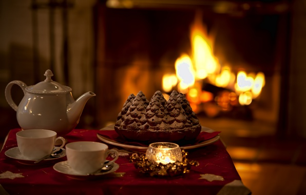 Picture heat, mood, holiday, tea, candle, pie, fireplace