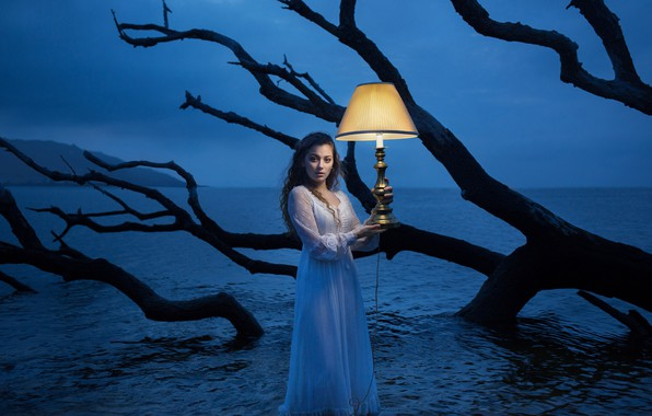 Picture sea, girl, lamp, the situation, dress, snag