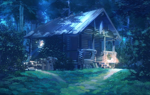 Picture forest, night, hut, Everlasting Summer, Summer camp