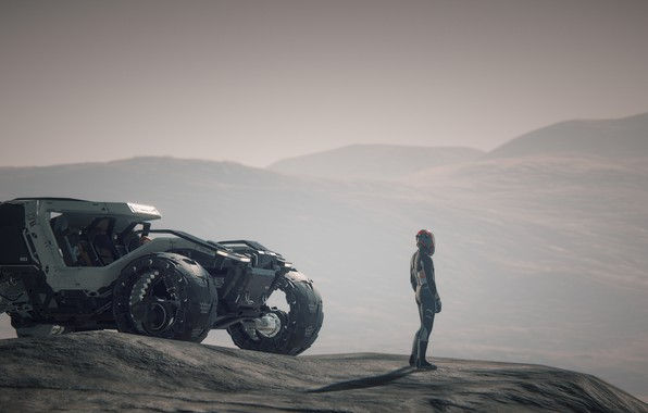 Picture machine, transport, people, Star Citizen, Daymar