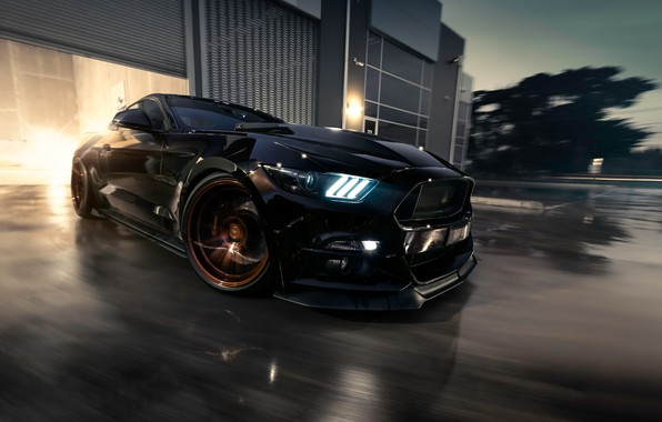 Photo wallpaper Mustang, Ford, Muscle, Car, Black