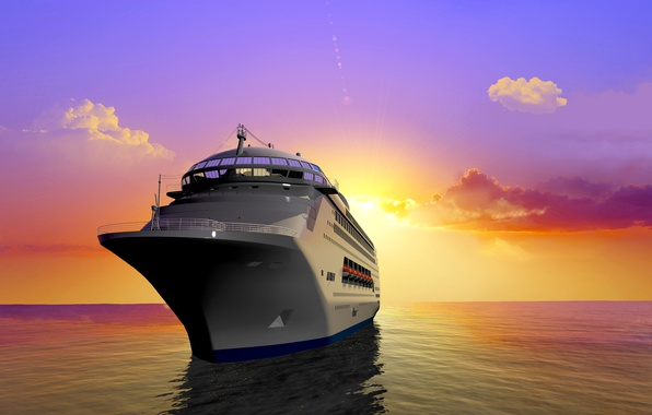 Picture sea, the sky, the sun, clouds, rays, dawn, ship, horizon, 3D graphics, cruise liner