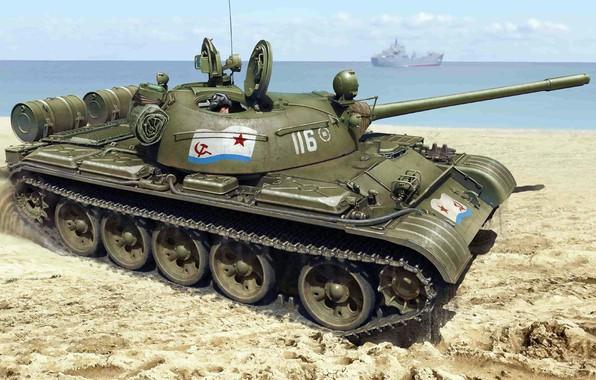 Picture shore, THE SOVIET NAVY, Soviet medium tank, T-55, Military-Maritime fleet of the USSR