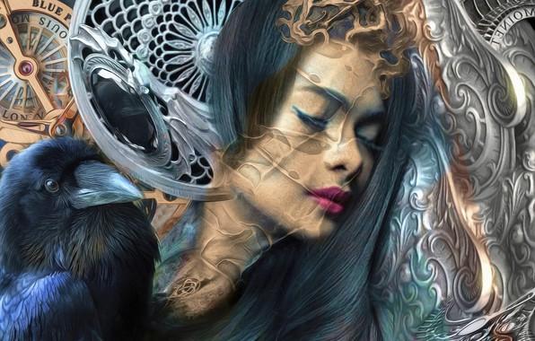 Picture girl, bird, mystic, Raven