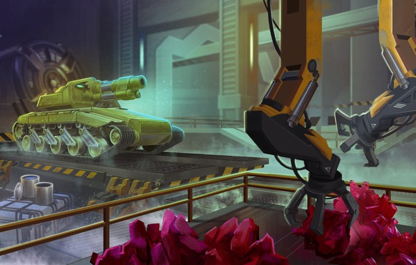 Picture caterpillar, yellow, green, green, black, the game, paint, the fence, hangar, tank, crystals, game, box, …