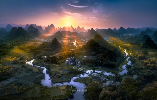 Photo wallpaper China, river, light, valley