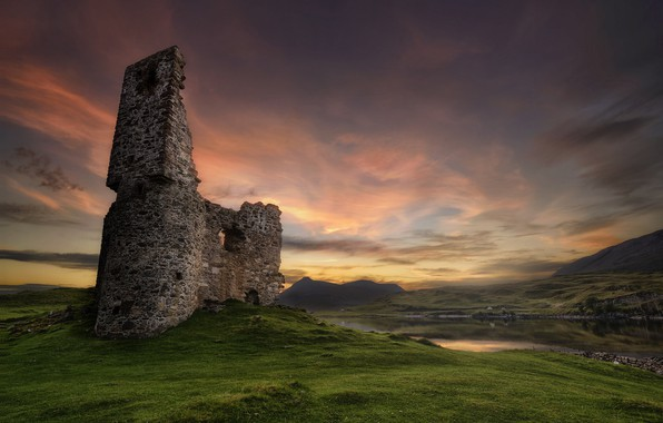 Picture field, the sky, sunset, ruins