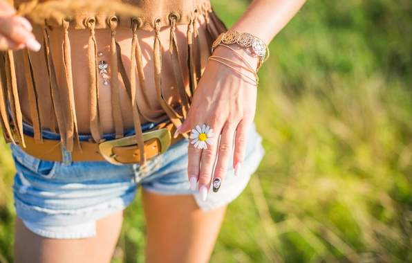 Picture flower, girl, shorts, hand, Daisy, piercing, bracelet, strap, white petals, manicure