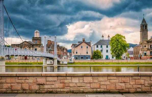 Picture clouds, clouds, bridge, river, overcast, home, Scotland, Highland