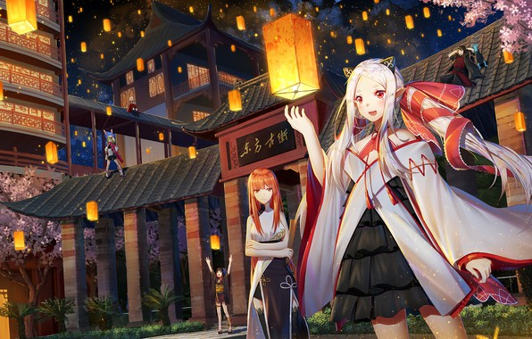 Picture girl, the city, anime, art, lanterns, forever 7th capital
