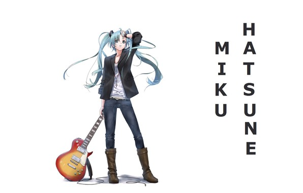 Picture guitar, jeans, boots, white background, vocaloid, hatsune miku, long hair, Vocaloid, Hatsune Miku, two tails