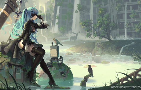 Picture water, girl, weapons, bird, the building, sword, stockings, dress, gloves, headband, ruins, vocaloid, hatsune miku, …
