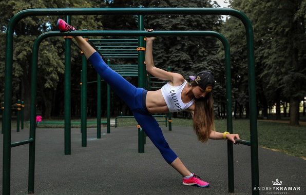 Picture girl, pose, Park, sport, Mike, figure, cap, brown hair, fitness, twine, sneakers, stretching, Playground, the …