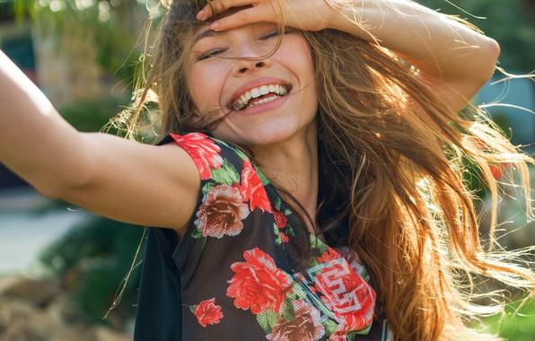 Picture joy, smile, hair, Girl, beautiful, Lyuda