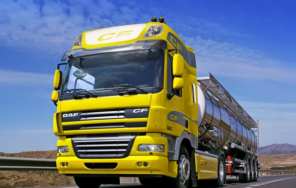 Picture yellow, track, DAF, tank, tractor, DAF, the trailer, Euro5, 4x2, desert landscape, DAF CF85.510