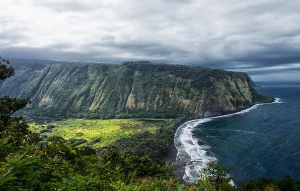 Picture the ocean, Rock, Hawaii, Rock, USA, Coast, Waipio Valley