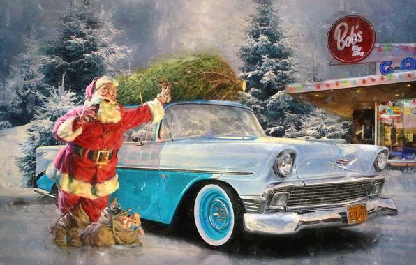 Picture winter, snow, retro, holiday, gifts, car, Santa Claus, Santa Claus
