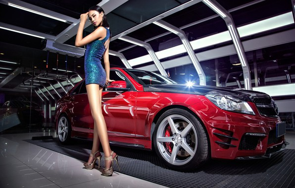 Picture look, Girls, Mercedes, Asian, beautiful girl, red car