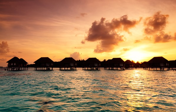 Picture sea, the sky, sunset, tropics, coast, The Maldives, Bungalow