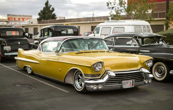 Picture yellow, Cadillac, classic