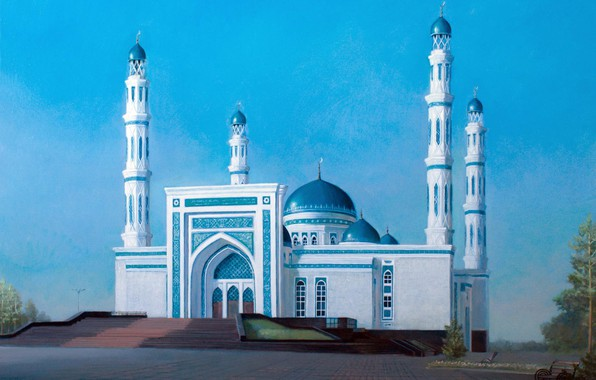 Picture landscape, Aibek Begalin, Two thousand thirteen, Mosque in Karaganda