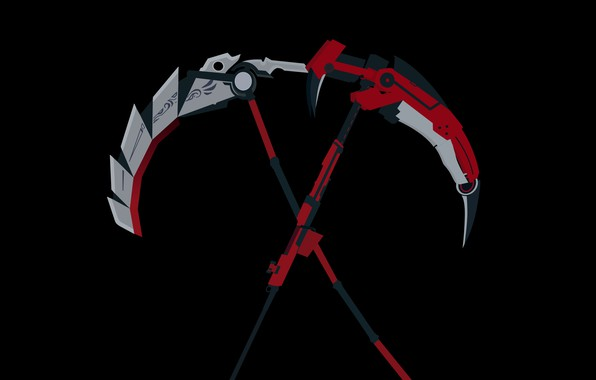 Picture red, weapons, grey, black, anime, braid, Red, Rose, Black, anime, White, Yellow, uncle, Rose, modification, …