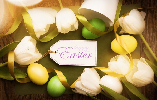 Picture Easter, tulips, wood, tulips, spring, Easter, eggs, decoration, Happy, tender
