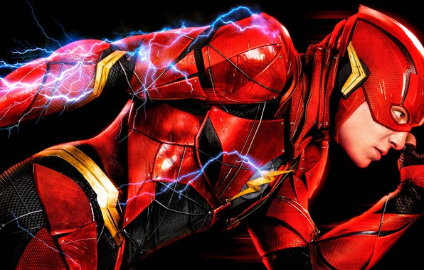 Picture red, fiction, sparks, costume, black background, poster, comic, DC Comics, Justice League, Flash, The Flash, …