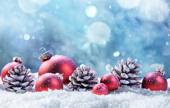 Picture winter, snow, decoration, balls, tree, New Year, Christmas, happy, Christmas, bumps, winter, snow, New Year, ...