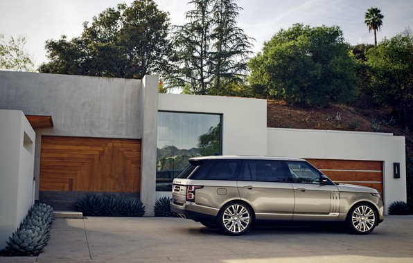 Picture the sky, trees, grey, the building, plants, hill, Parking, Land Rover, Range Rover SV Autobiography