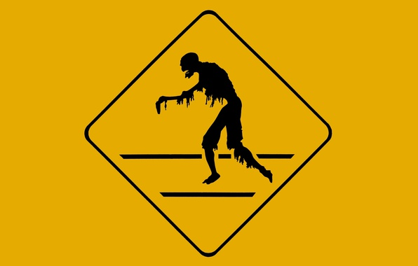 Photo wallpaper silhouette, zombie, yellow, Danger, black, poster