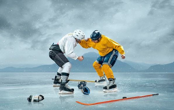 Picture snow, landscape, snowflakes, background, sport, the game, ice, the situation, fight, gloves, hockey, washer, fists, …