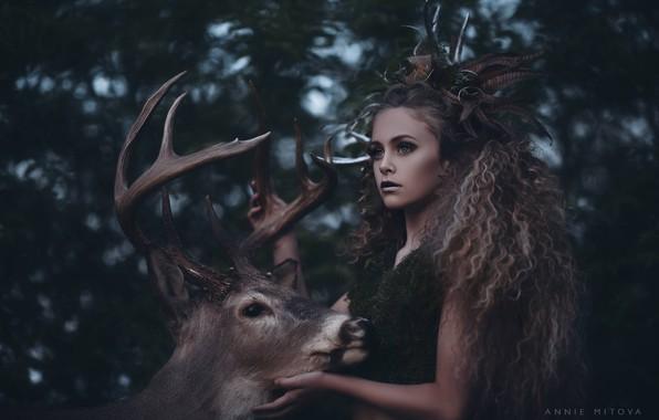 Picture girl, deer, horns, curls, Diana, Annie Mitova