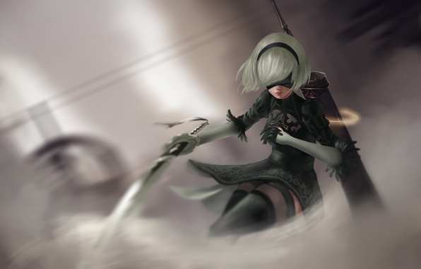 Picture girl, sword, cyborg, art, nier, NieR: Automata, YoRHa No.2 Type B