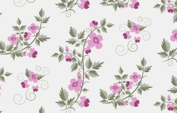 Photo wallpaper retro, vector, with, floral, texture, flowers, pattern
