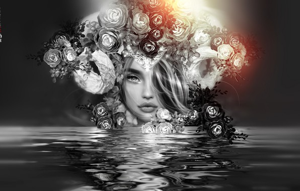 Picture water, girl, flowers, face, reflection, wreath