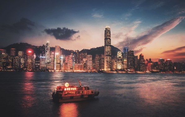 Picture city, lights, night, Hong Kong, skyscrapers, Victoria