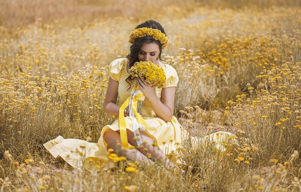Picture field, summer, girl, flowers, tape, bouquet, dress, brunette, wreath