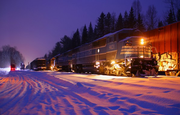 Picture winter, forest, snow, trees, night, lights, train, railroad, locomotive, composition
