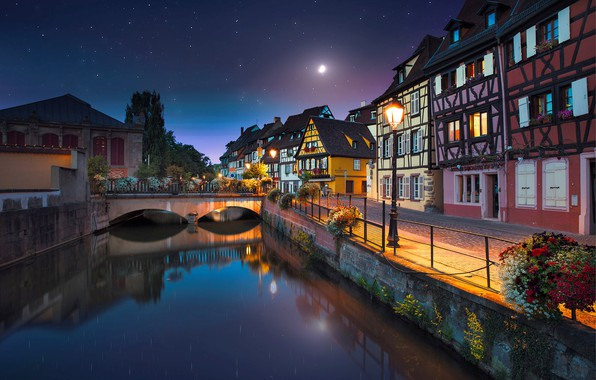 Picture night, the city, river, the moon, France, home, stars, lighting, channel, the bridge, promenade, France, …