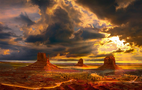 Picture road, the sky, the sun, clouds, rays, light, landscape, clouds, nature, rocks, desert, view, height, …