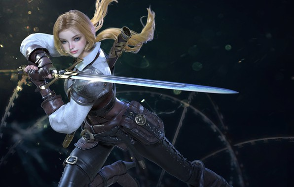 Photo wallpaper look, girl, pose, rendering, weapons, background, sword