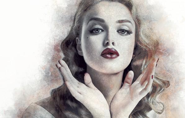 Picture girl, face, portrait, hands, art, lips