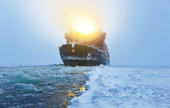 Picture Winter, Sea, Fog, Snow, Ice, Light, The ship, Russia, Spotlight, 50 years of Victory, 10521, ...