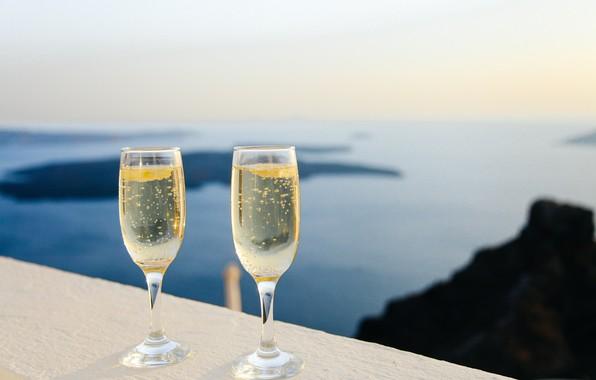 Picture sea, summer, mood, glasses, champagne