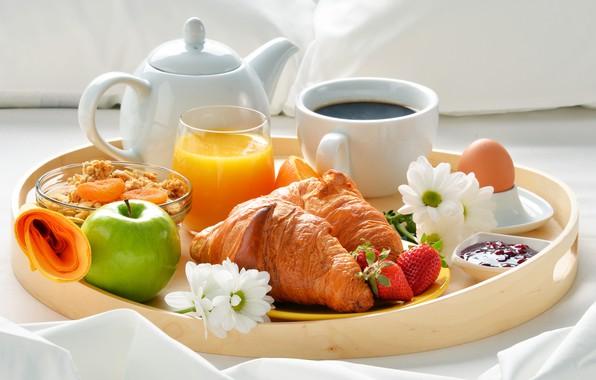 Picture berries, coffee, Apple, Breakfast, strawberry, juice, jam, coffee cup, strawberry, breakfast, croissant, muesli, growing