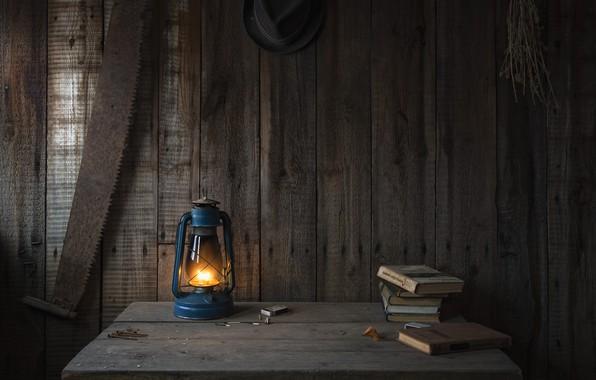 Picture heat, table, tree, fire, Board, books, lamp, kerosene stove, saw, kerosene lamp