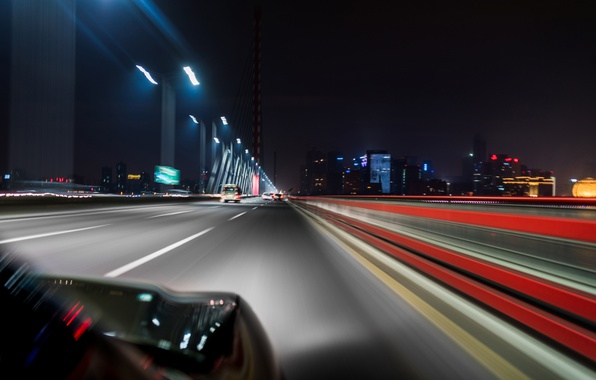 Picture road, the city, markup, excerpt, blur, car, night, skyscrapers, bokeh, headlights, wallpaper., feel of speed, …