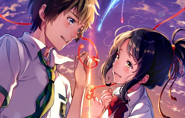 Picture the sky, face, hands, tears, tie, art, red thread, students, Makoto Shinkai, Kimi no VA …