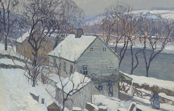 Picture winter, landscape, house, river, picture, Edward Willis Redfield, Edward Redfield, Lamberville